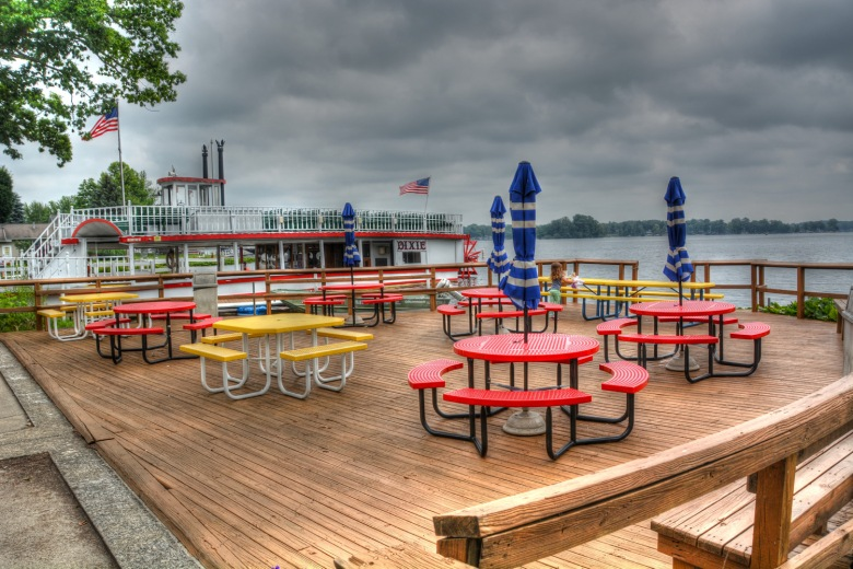 Pizza King North Webster deck and the Dixie Sternwheeler on Webster Lake.