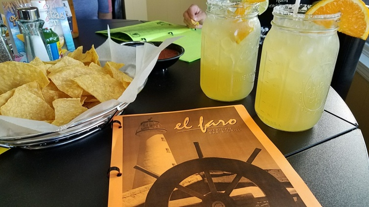 El Faro's temporary menu with the obligatory chips and salsa and margaritas.