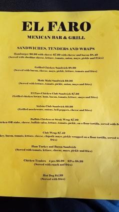 The menu specific to the Rozella location of El Faro.
