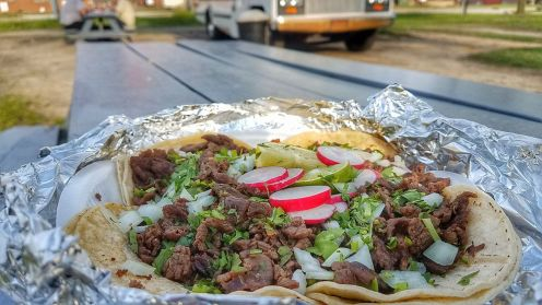 Steak tacos with a view at Tacos Jalisco.