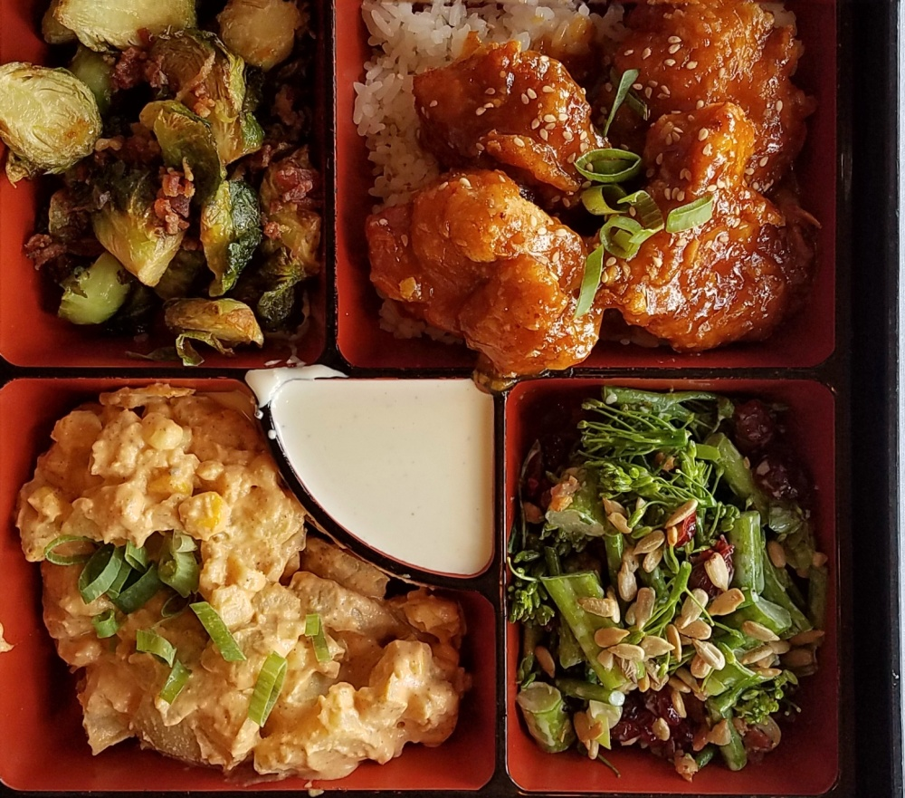 My Bento Box fave - Smokey Tso's Chicken with brussel sprouts, chorizo potato salad and brocolini salad.