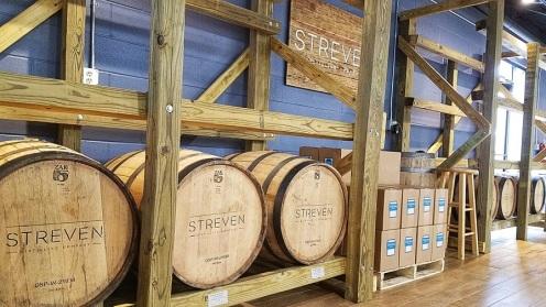 Ageing bottles of bourbon at Streven.