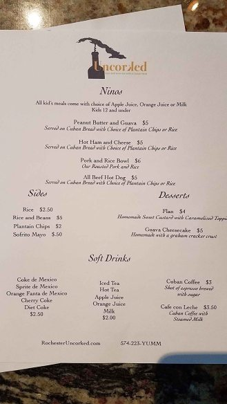 Kids/sides/dessert/soft drink menu at Uncorked in Rochester, Indiana