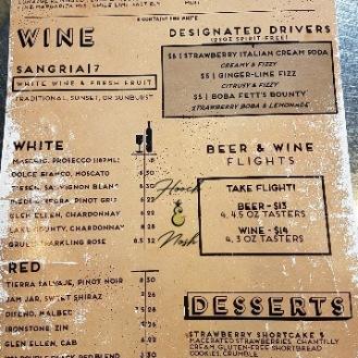Hoppy Gnome drink and dessert menu