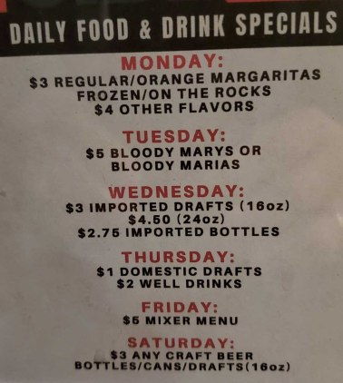 Side House Grill's daily specials as of December 2019
