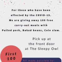 The Sleepy Owl to Host Privately-Funded Carryout Meal for Persons Experiencing Financial Hardship